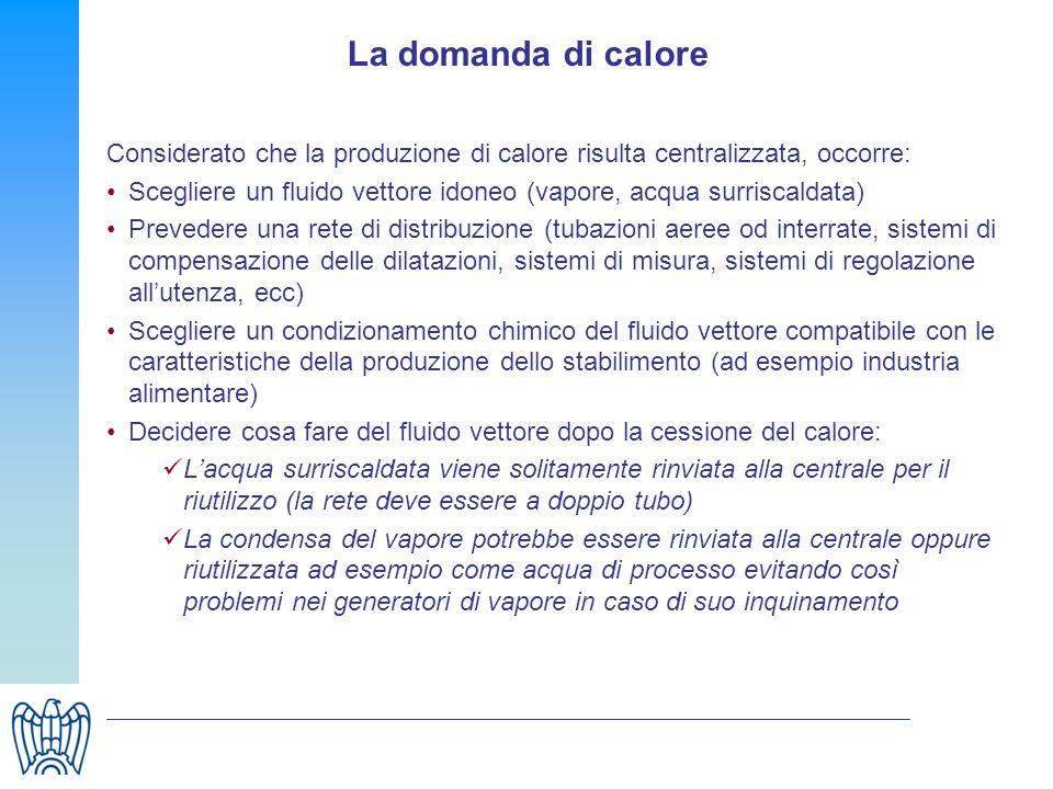 La domanda di calore Considerato che la produzione di calore risulta centralizzata, occorre: