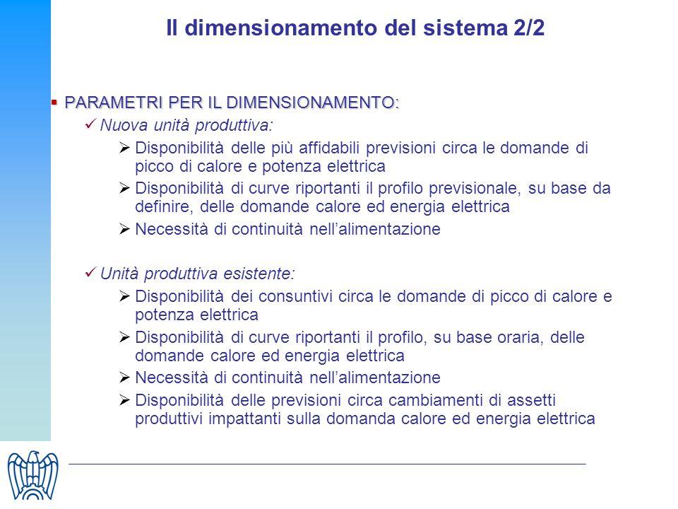 Il dimensionamento del sistema 2/2
