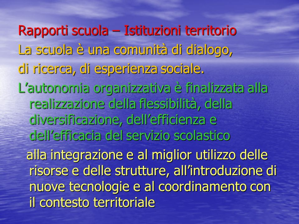 Rapporti scuola – Istituzioni territorio