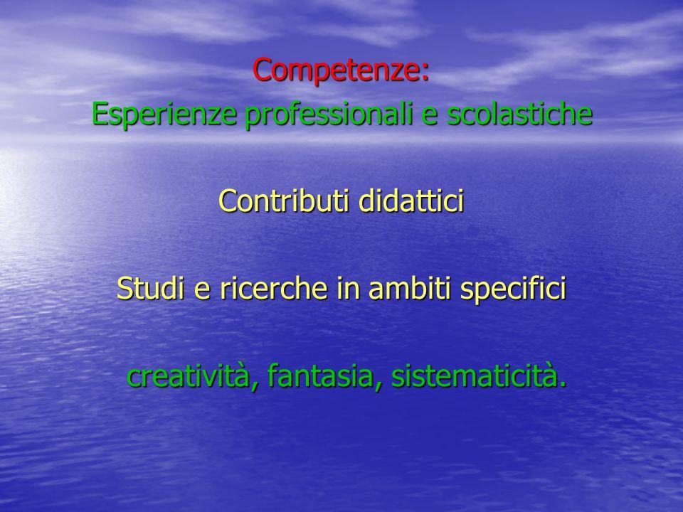 Esperienze professionali e scolastiche Contributi didattici