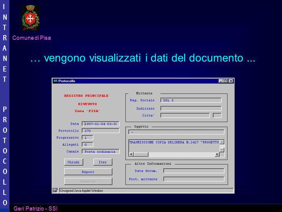 … vengono visualizzati i dati del documento ...