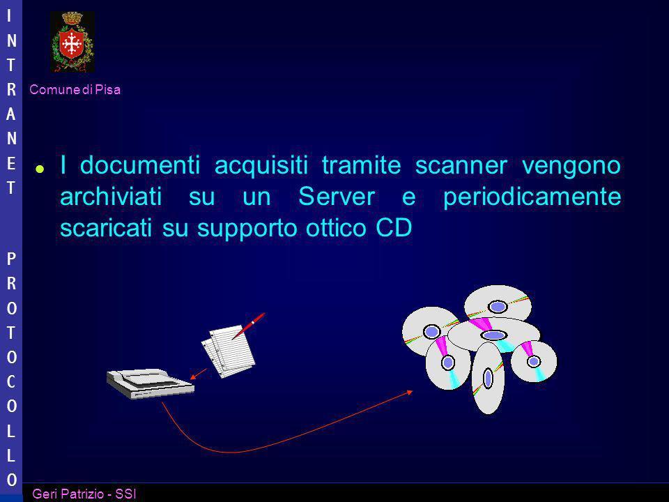 I documenti acquisiti tramite scanner vengono archiviati su un Server e periodicamente scaricati su supporto ottico CD
