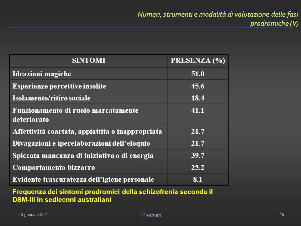 Numeri, strumenti e modalità di valutazione delle fasi prodromiche (V)