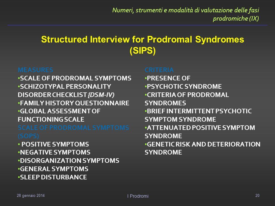 Structured Interview for Prodromal Syndromes (SIPS)