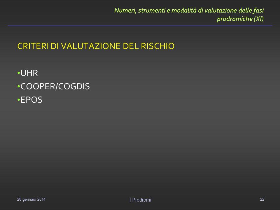 CRITERI DI VALUTAZIONE DEL RISCHIO UHR COOPER/COGDIS EPOS