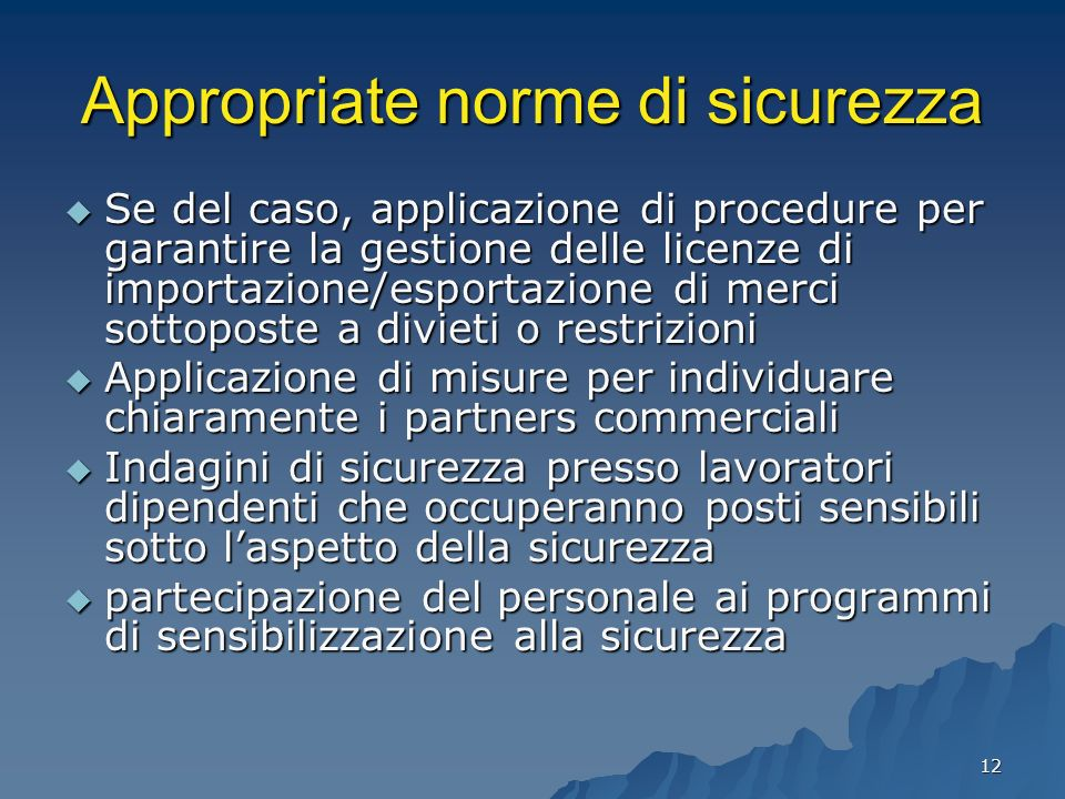Appropriate norme di sicurezza