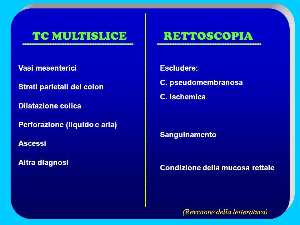 TC MULTISLICE RETTOSCOPIA Vasi mesenterici Strati parietali del colon