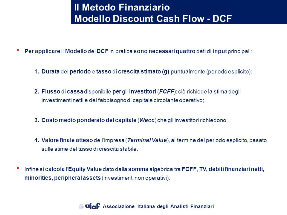 Modello Discount Cash Flow - DCF