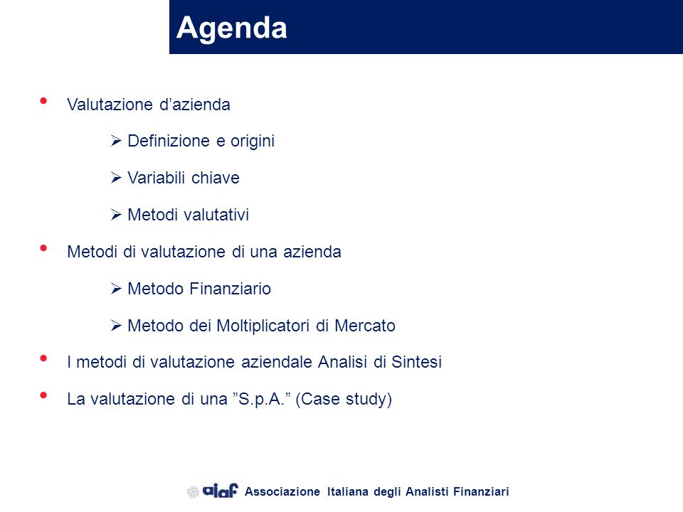 Agenda Valutazione d'azienda Definizione e origini Variabili chiave