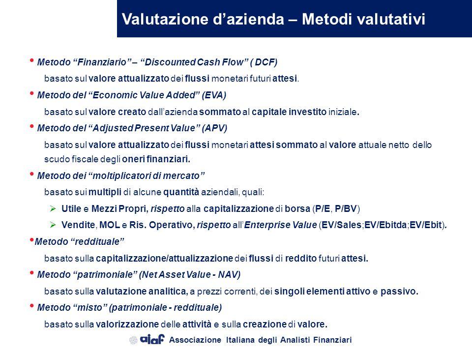 Valutazione d'azienda – Metodi valutativi