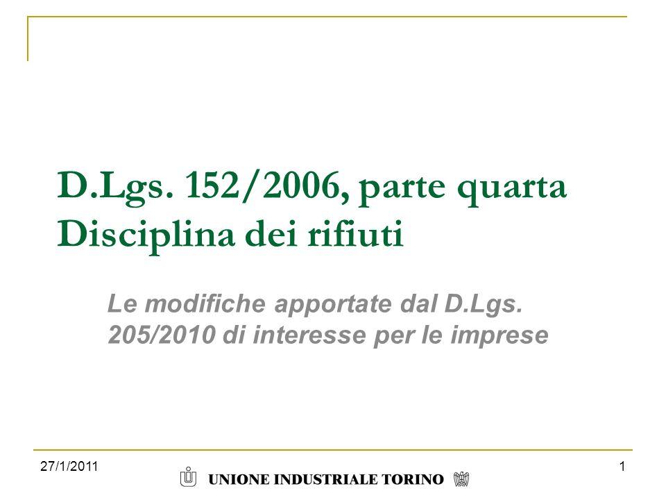 D.Lgs. 152/2006, parte quarta Disciplina dei rifiuti