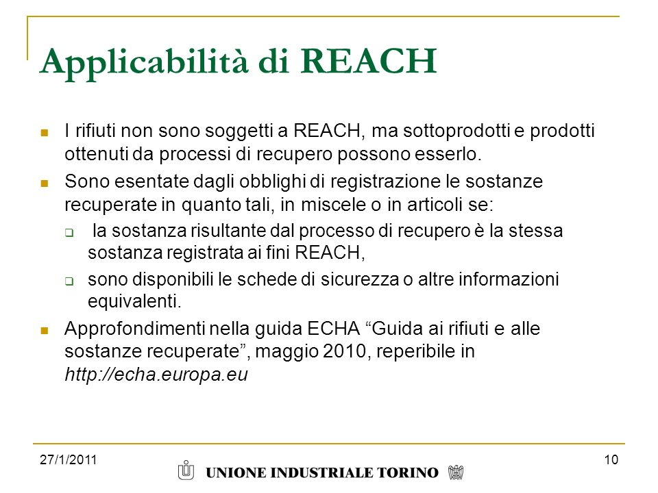 Applicabilità di REACH