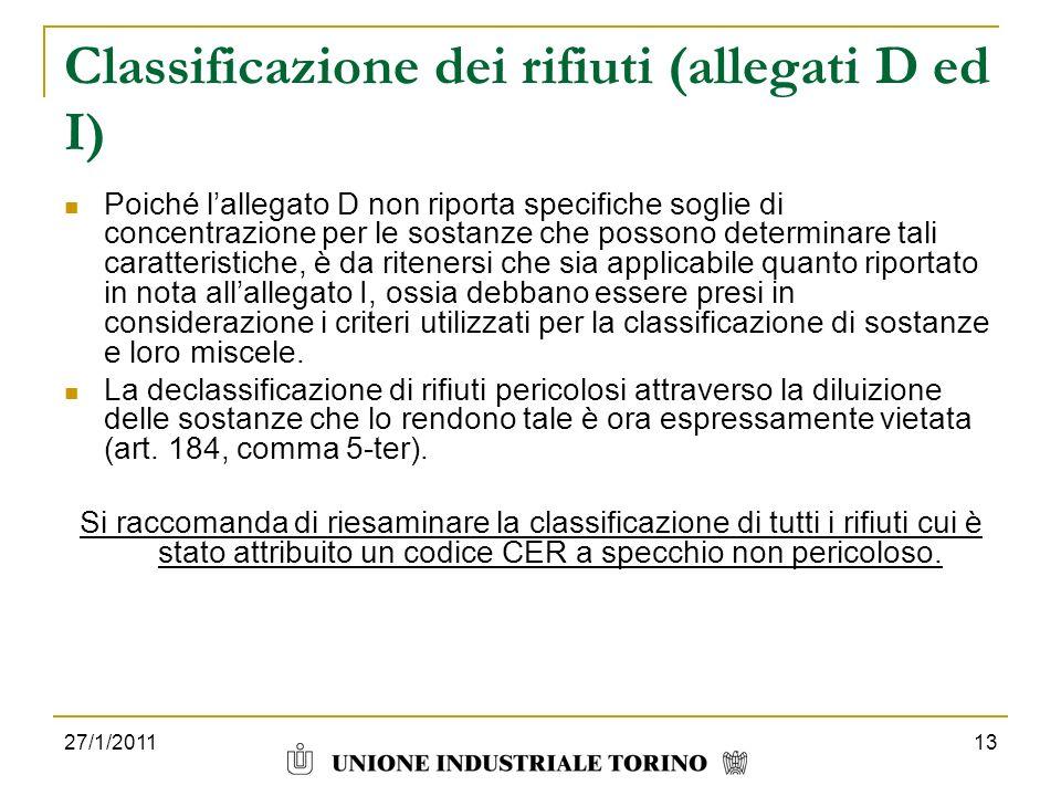 Classificazione dei rifiuti (allegati D ed I)