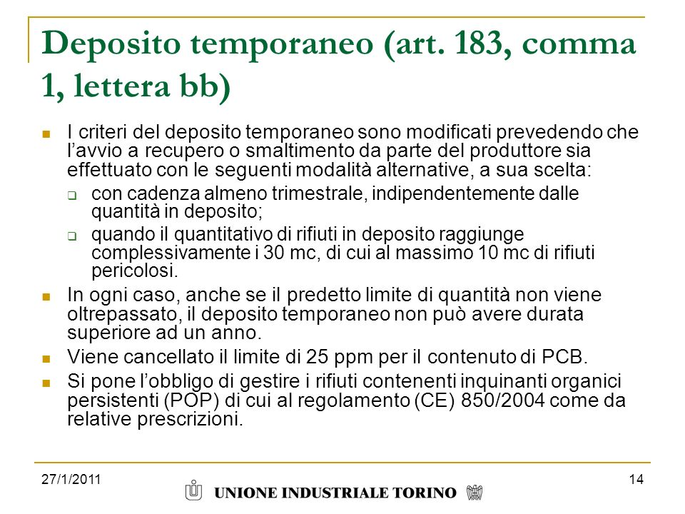 Deposito temporaneo (art. 183, comma 1, lettera bb)