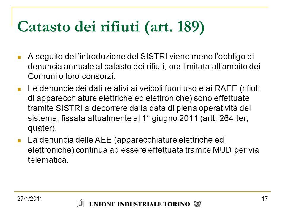 Catasto dei rifiuti (art. 189)