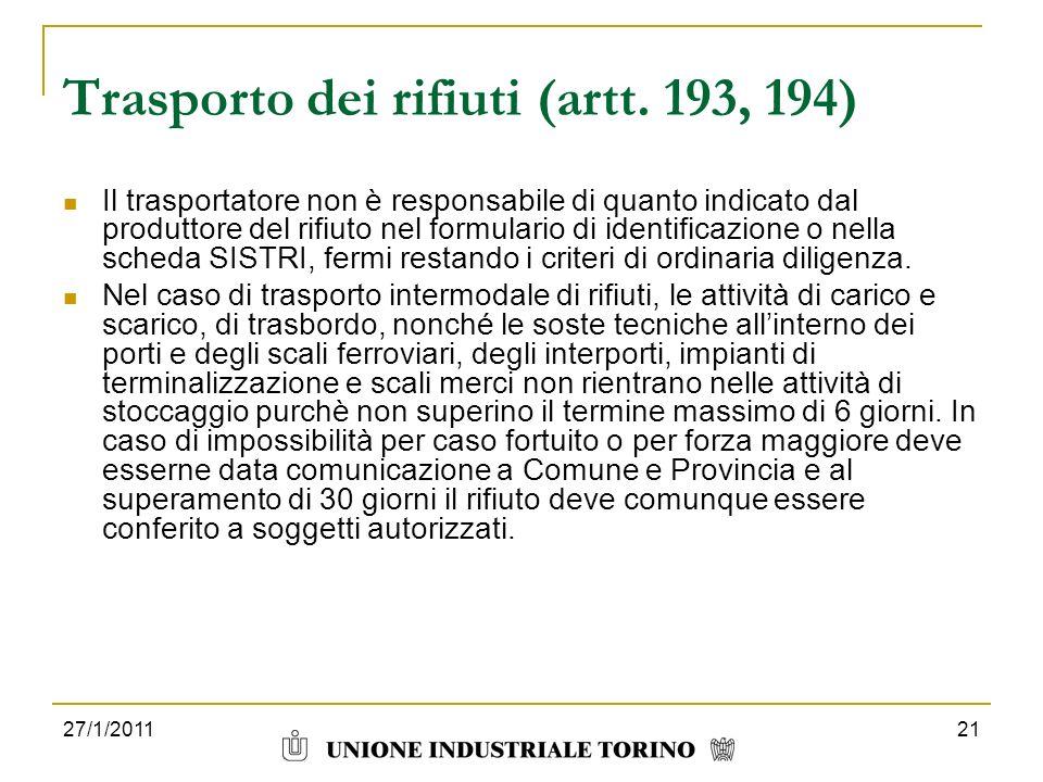Trasporto dei rifiuti (artt. 193, 194)