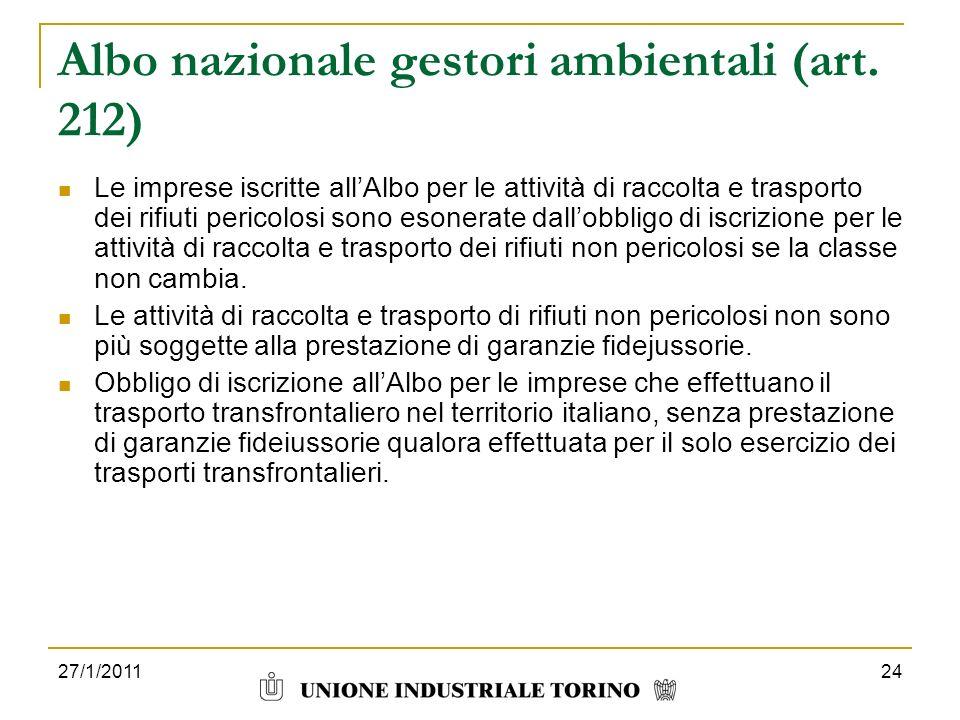 Albo nazionale gestori ambientali (art. 212)
