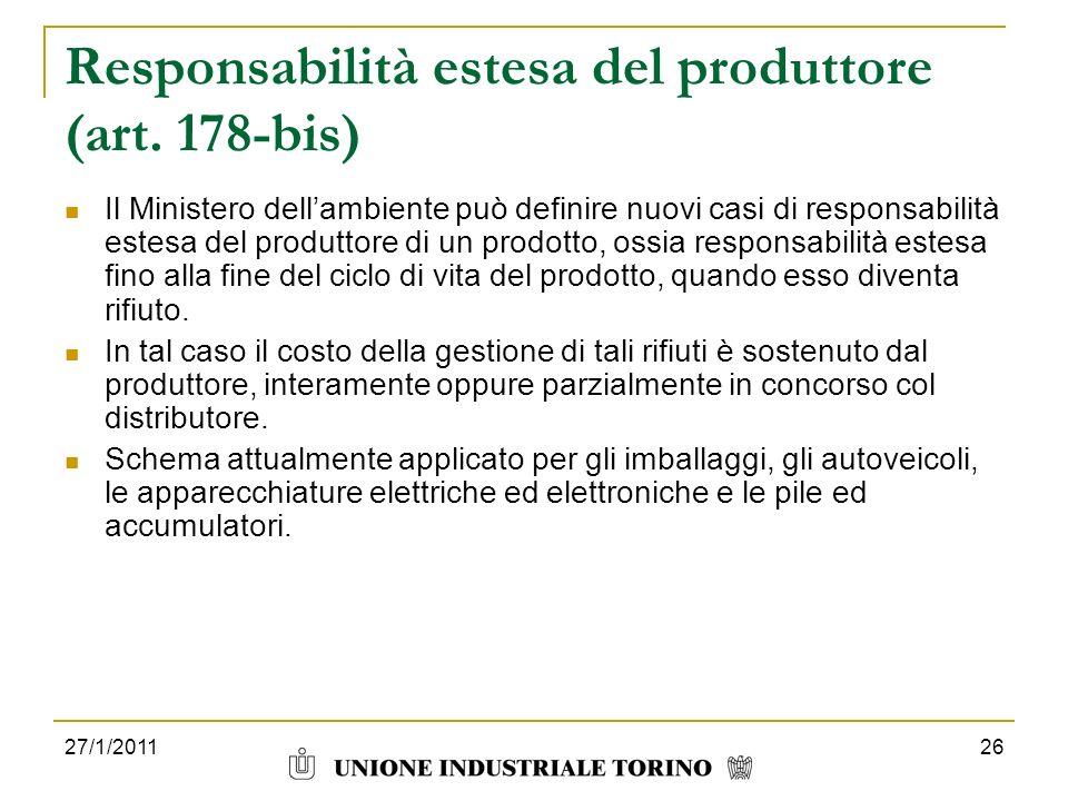 Responsabilità estesa del produttore (art. 178-bis)