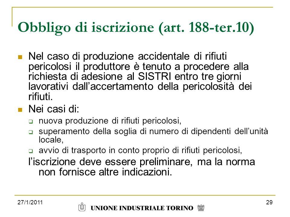 Obbligo di iscrizione (art. 188-ter.10)