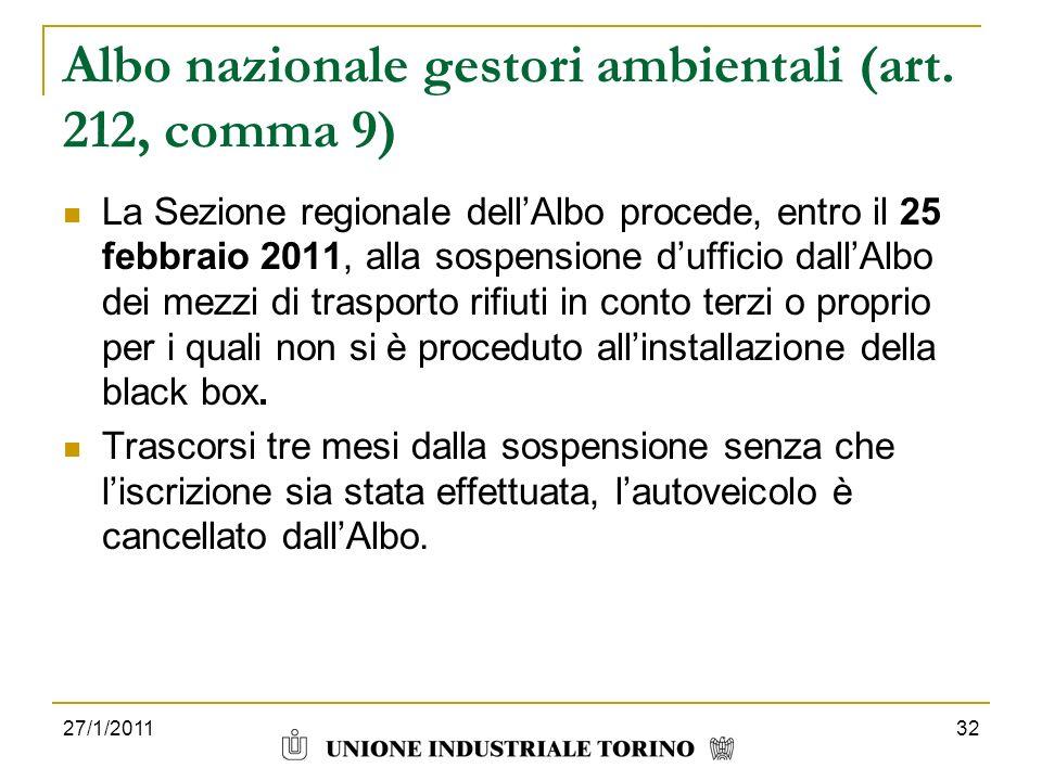 Albo nazionale gestori ambientali (art. 212, comma 9)