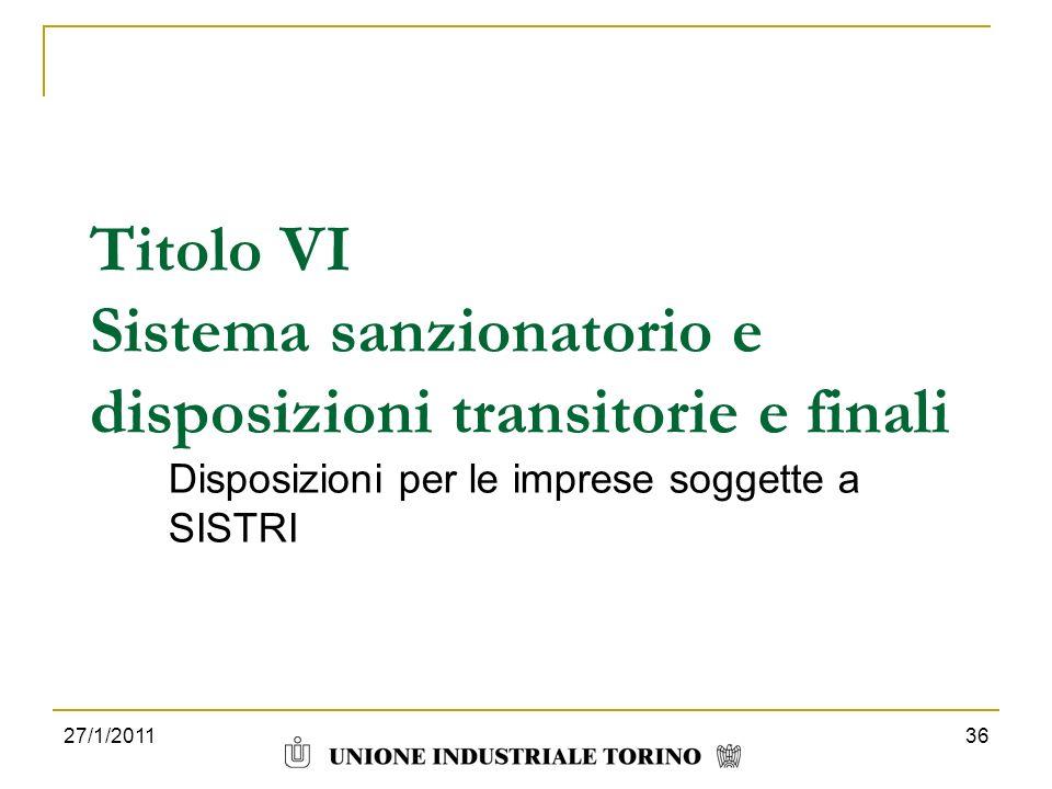 Titolo VI Sistema sanzionatorio e disposizioni transitorie e finali