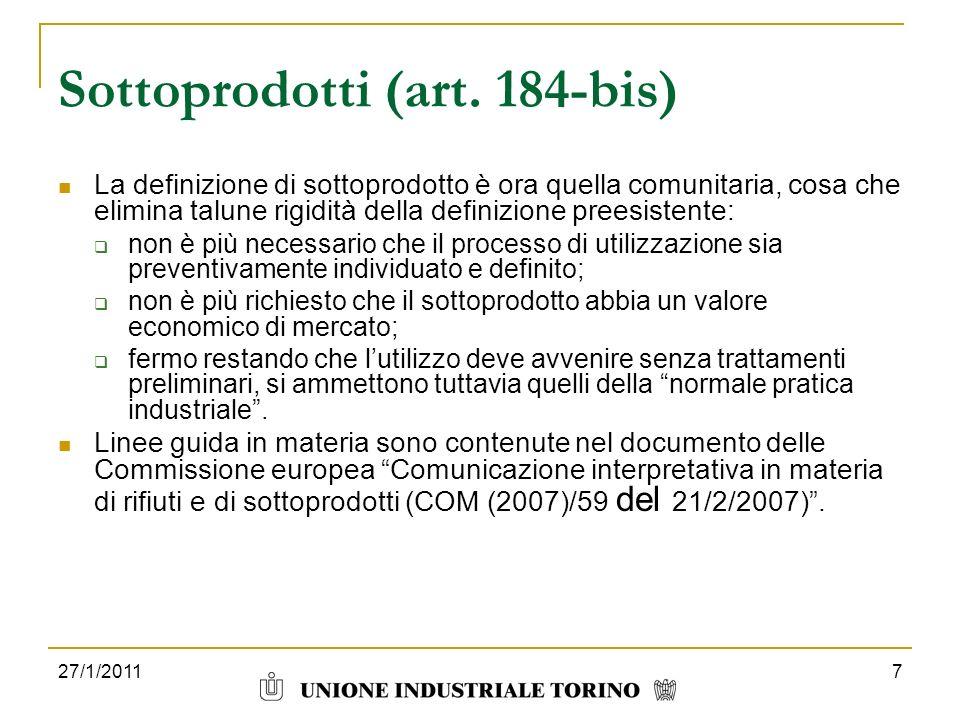 Sottoprodotti (art. 184-bis)