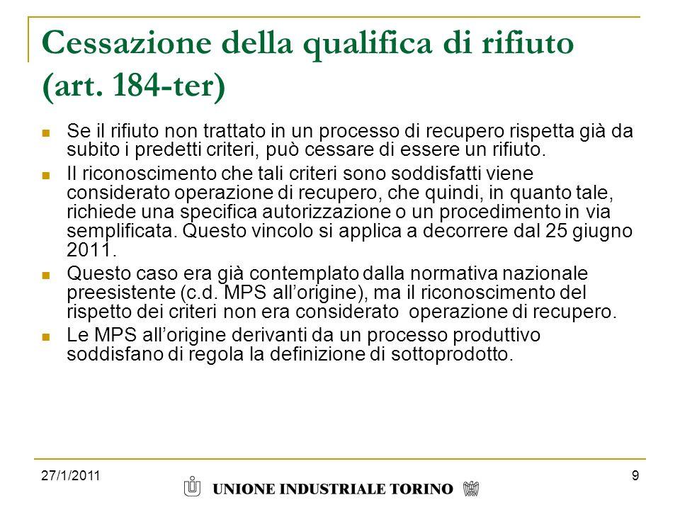 Cessazione della qualifica di rifiuto (art. 184-ter)