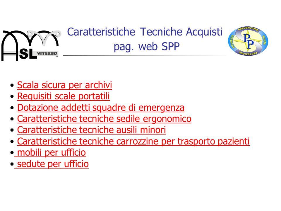 Caratteristiche Tecniche Acquisti pag. web SPP