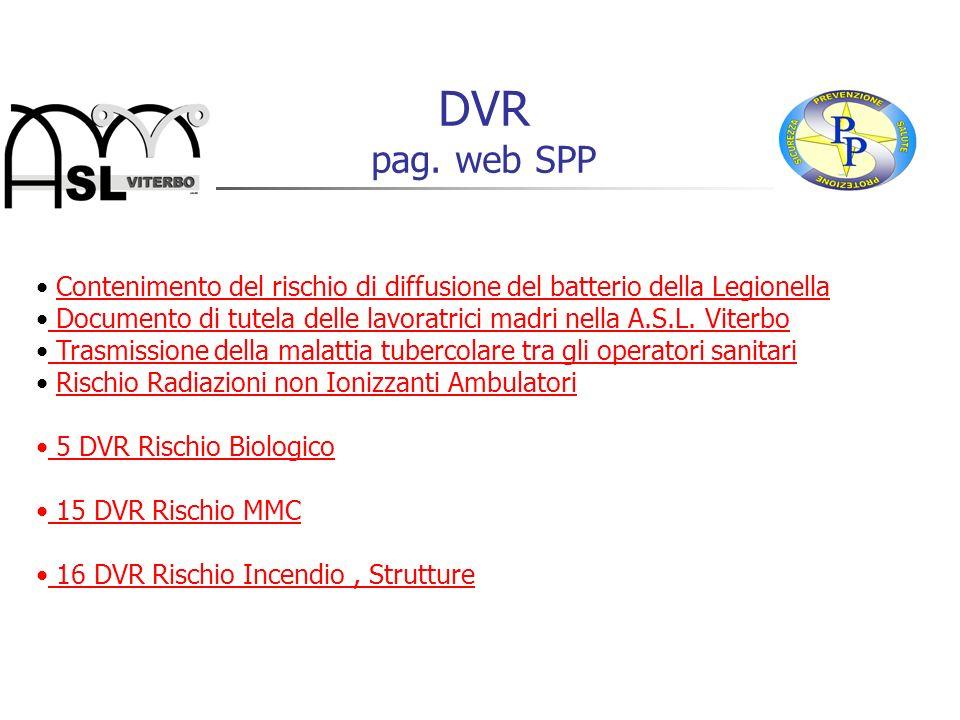 DVR pag. web SPP Contenimento del rischio di diffusione del batterio della Legionella.