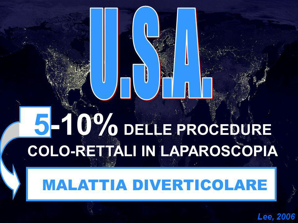 5-10% DELLE PROCEDURE COLO-RETTALI IN LAPAROSCOPIA