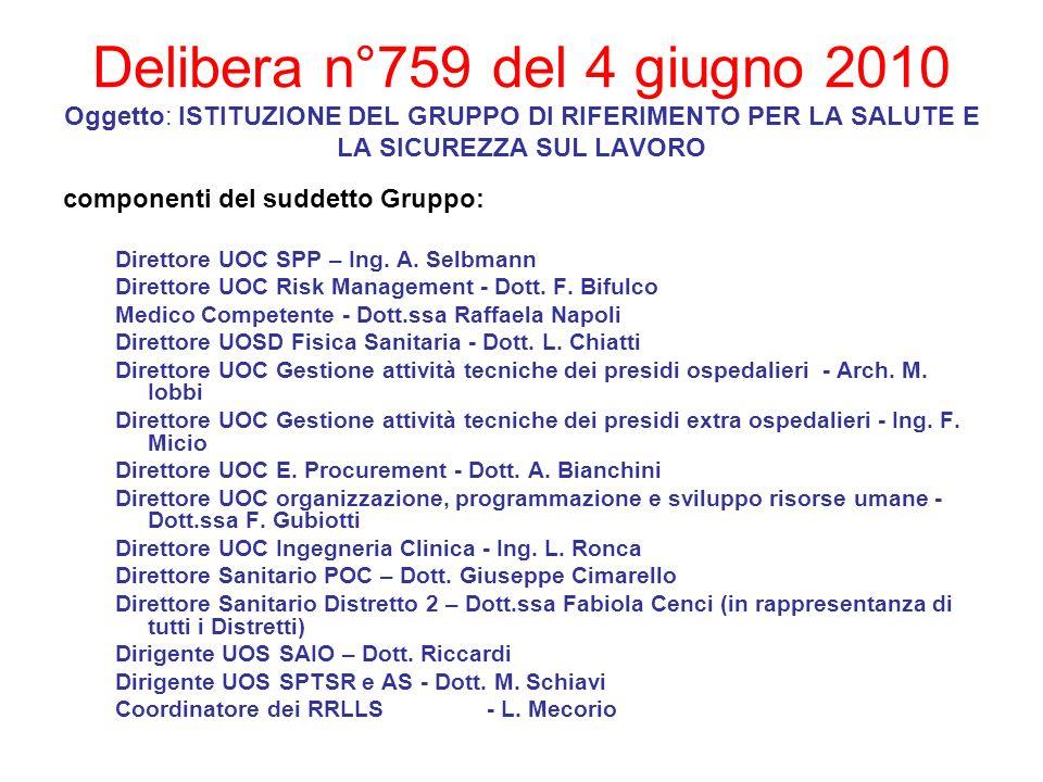Delibera n°759 del 4 giugno 2010 Oggetto: ISTITUZIONE DEL GRUPPO DI RIFERIMENTO PER LA SALUTE E LA SICUREZZA SUL LAVORO