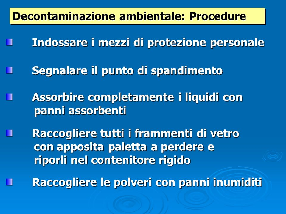 Decontaminazione ambientale: Procedure