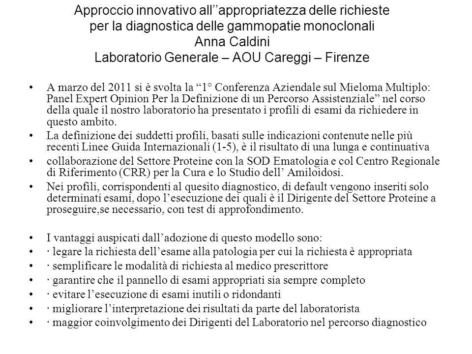 Approccio innovativo all''appropriatezza delle richieste per la diagnostica delle gammopatie monoclonali Anna Caldini Laboratorio Generale – AOU Careggi – Firenze