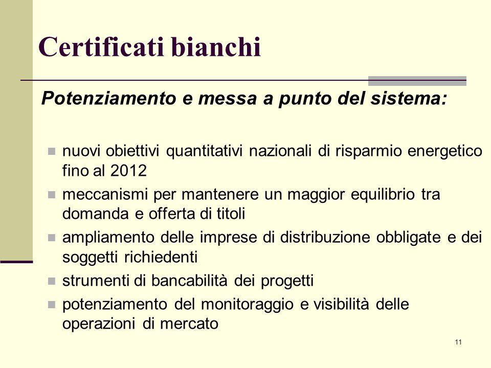 Certificati bianchi Potenziamento e messa a punto del sistema:
