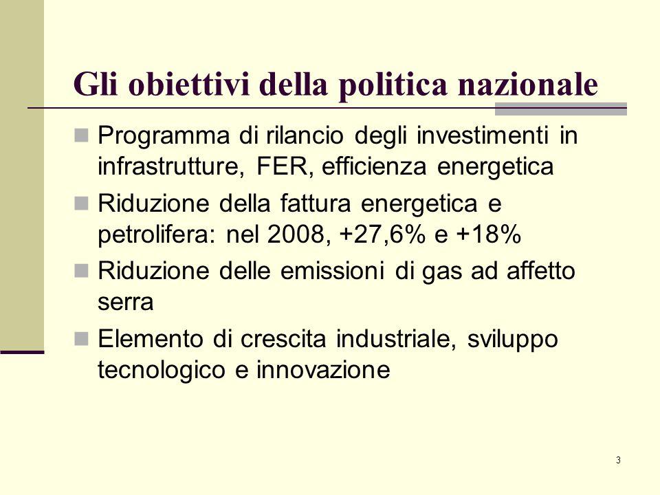 Gli obiettivi della politica nazionale