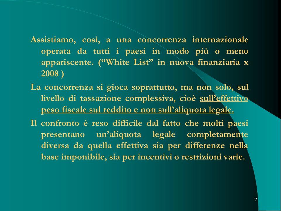 Assistiamo, così, a una concorrenza internazionale operata da tutti i paesi in modo più o meno appariscente. ( White List in nuova finanziaria x 2008 )