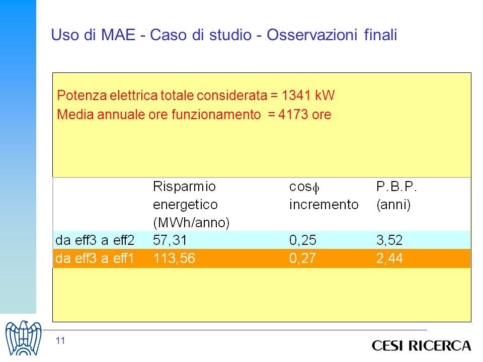 Uso di MAE - Caso di studio - Osservazioni finali