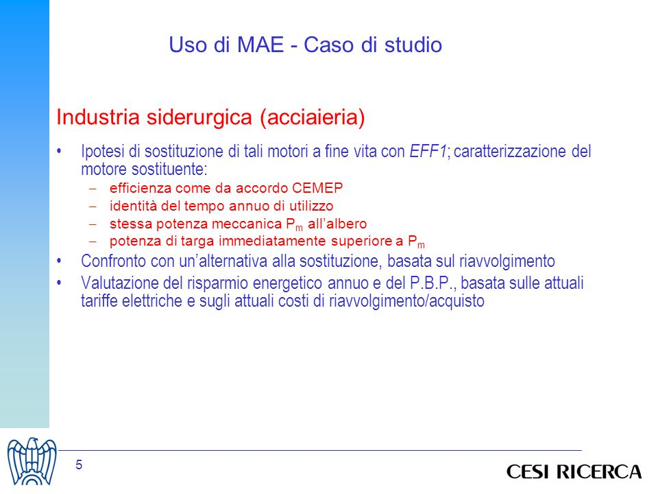 Uso di MAE - Caso di studio