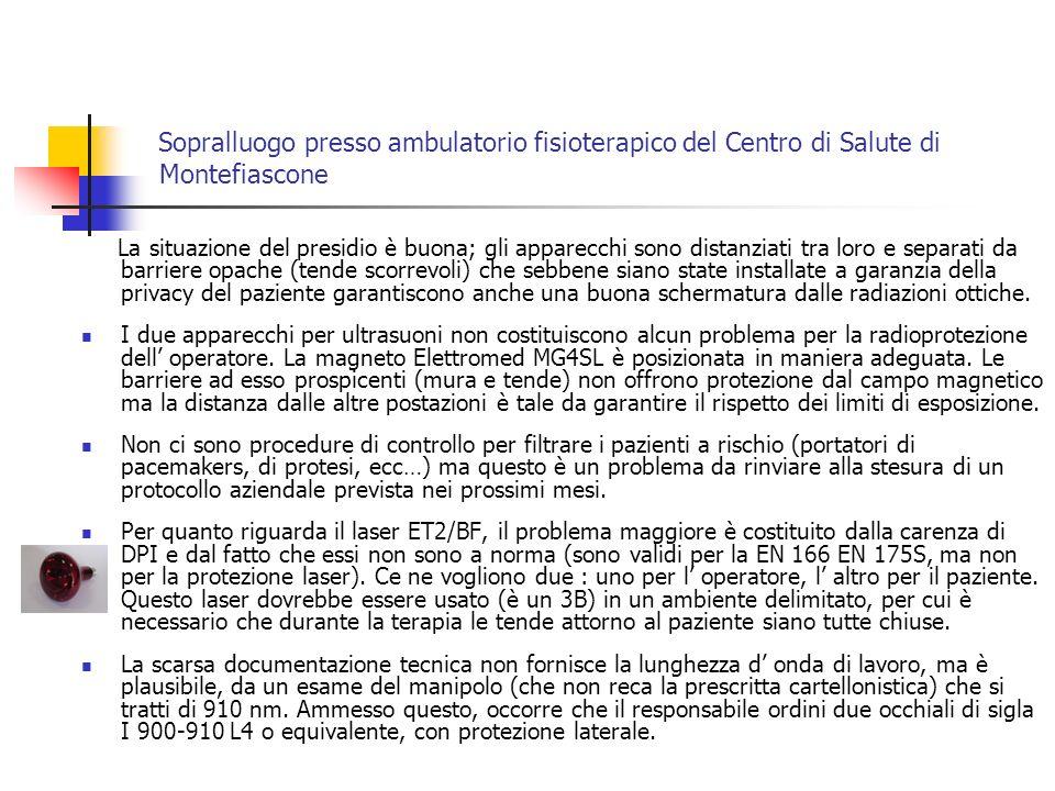 Sopralluogo presso ambulatorio fisioterapico del Centro di Salute di Montefiascone