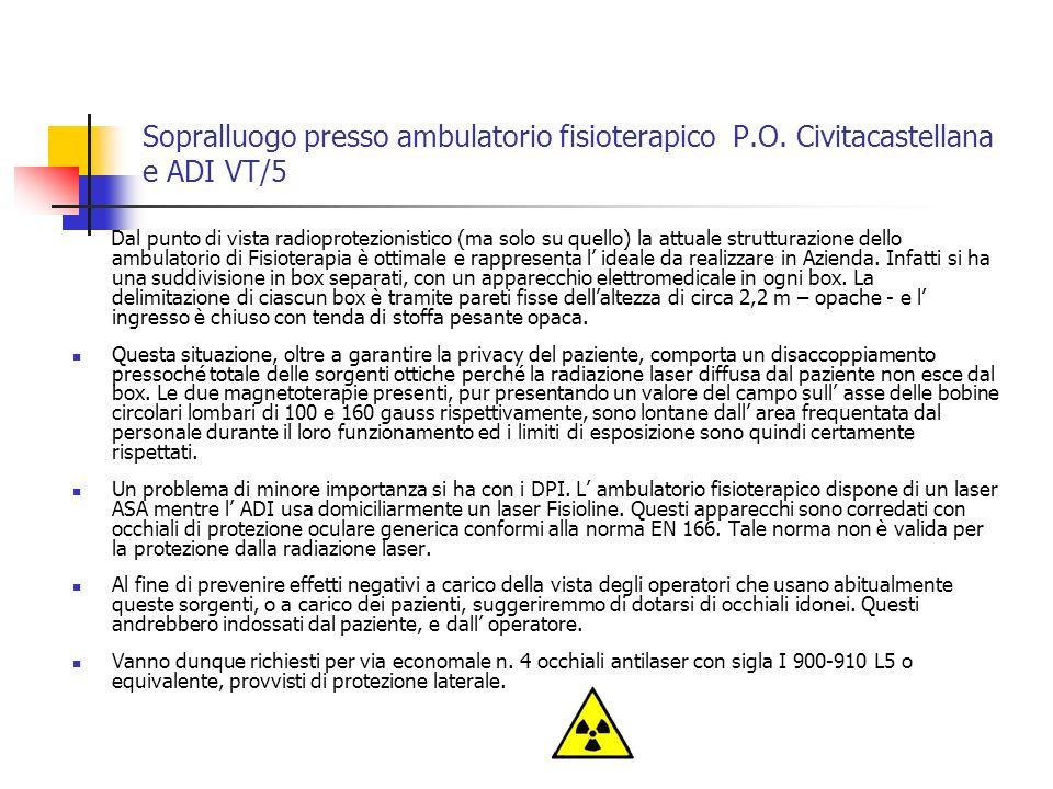 Sopralluogo presso ambulatorio fisioterapico P. O