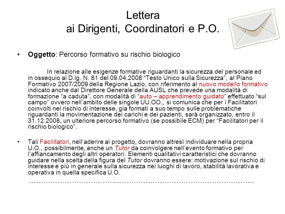 Lettera ai Dirigenti, Coordinatori e P.O.