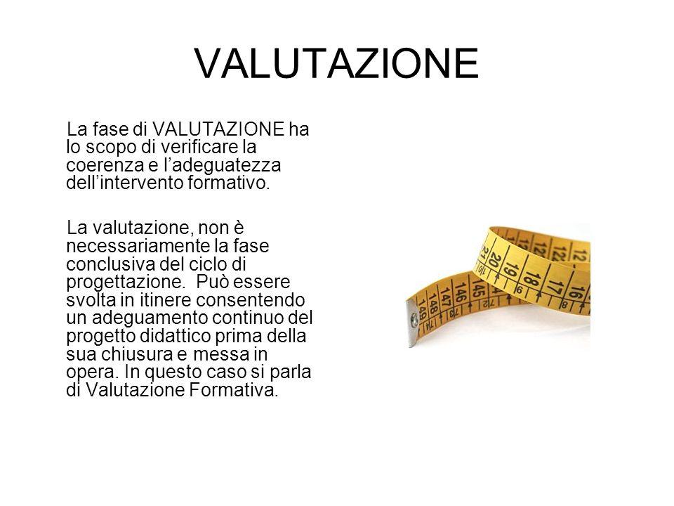 VALUTAZIONE La fase di VALUTAZIONE ha lo scopo di verificare la coerenza e l'adeguatezza dell'intervento formativo.