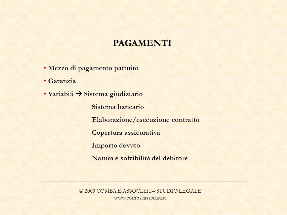 © 2009 COMBA E ASSOCIATI – STUDIO LEGALE