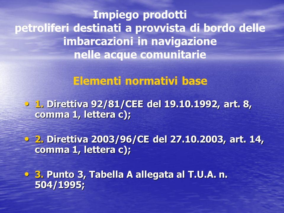Impiego prodotti petroliferi destinati a provvista di bordo delle imbarcazioni in navigazione nelle acque comunitarie Elementi normativi base