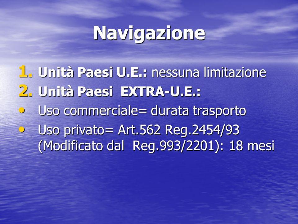 Navigazione Unità Paesi U.E.: nessuna limitazione