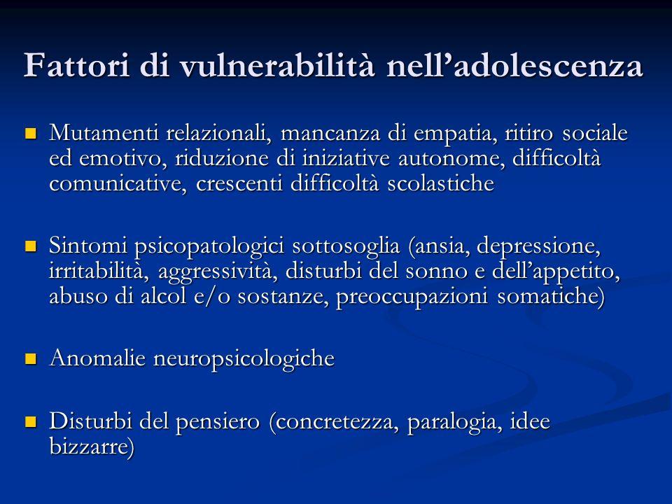 Fattori di vulnerabilità nell'adolescenza