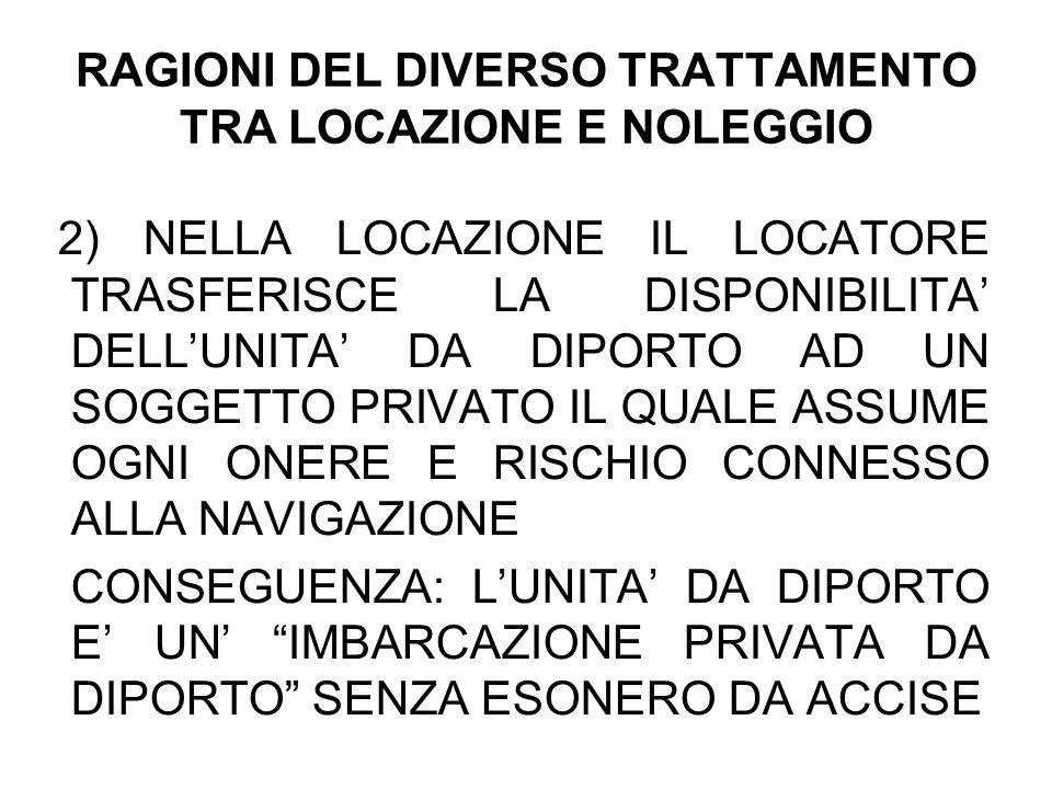 RAGIONI DEL DIVERSO TRATTAMENTO TRA LOCAZIONE E NOLEGGIO
