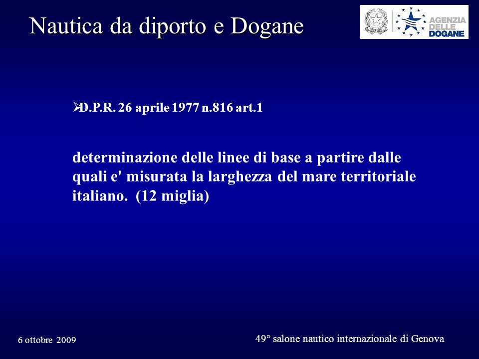 Nautica da diporto e Dogane
