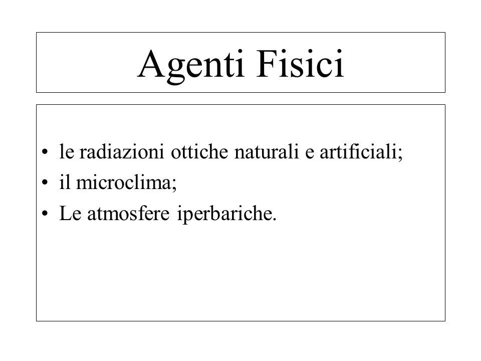 Agenti Fisici le radiazioni ottiche naturali e artificiali;
