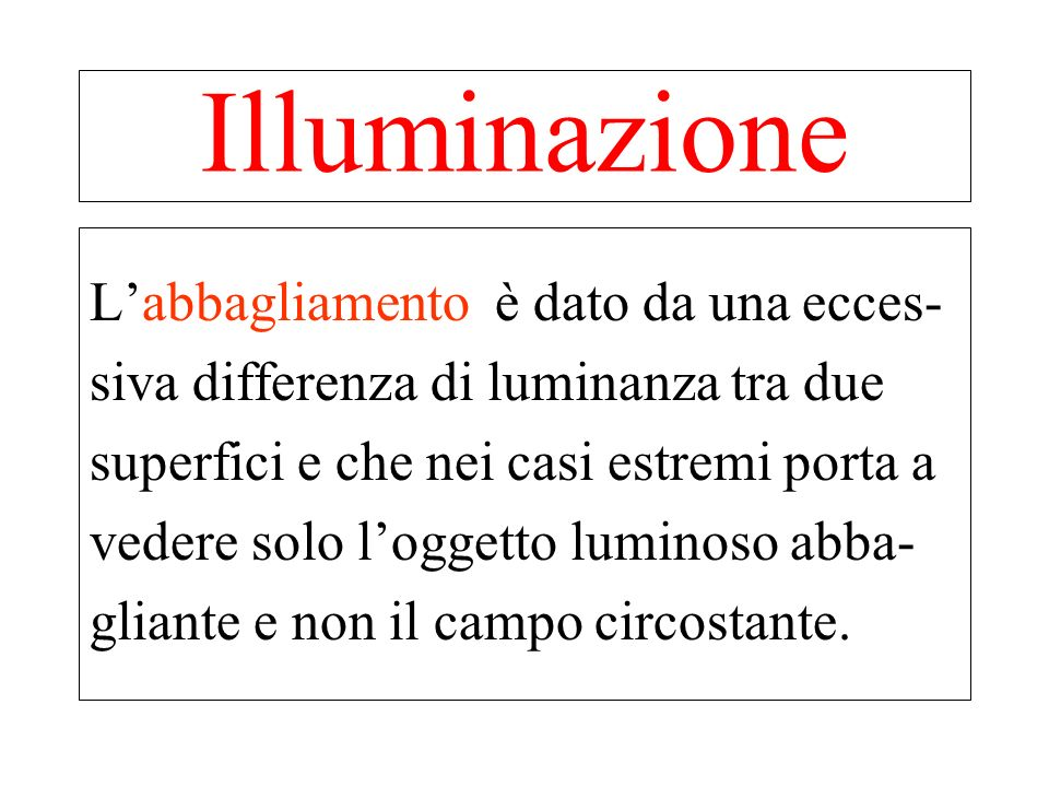 Illuminazione L'abbagliamento è dato da una ecces-
